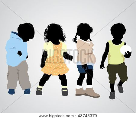 Four Children Silhouettes