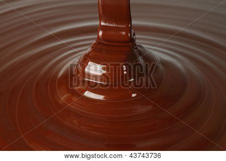 Dark chocolate flow close-up