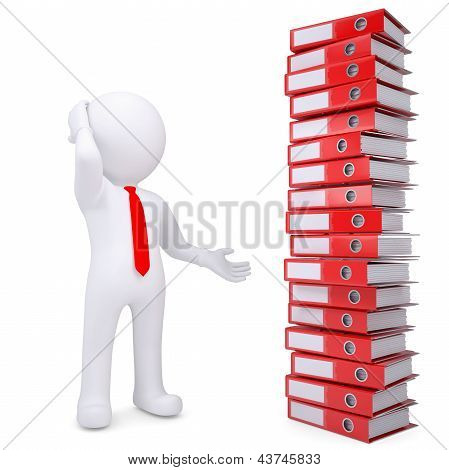 3d white man next to stack of office folders