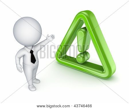 3d small person and warning sign.