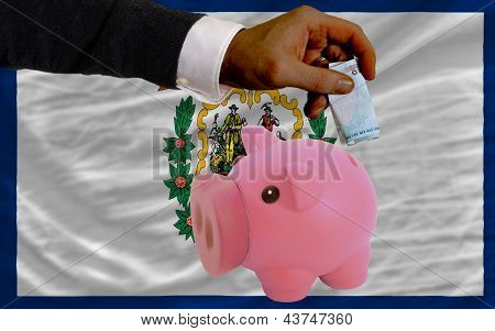 Funding Euro Into Piggy Rich Bank Flag Of American State Of West Virginia