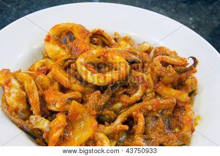 Nyonya Sambal Chili Calamari Dish Closeup