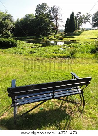 Rural Pond With Bench