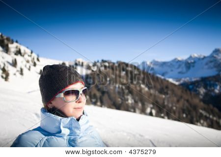 Young Woman In Italian Alps