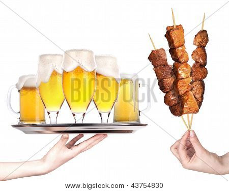 Fresh Grilled Meat Dishes With Beer