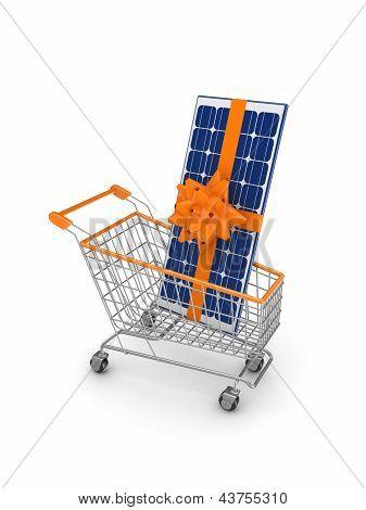Solar battery in a shopping trolley.