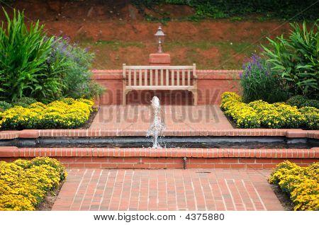 Brick Walkway, Flower Garden