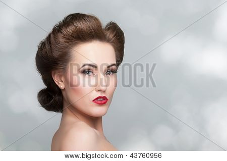 Beautiful Vintage Woman Portrait With Forties Hairstyle