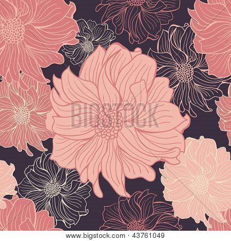 Hand-drawn flowers of dahlia.