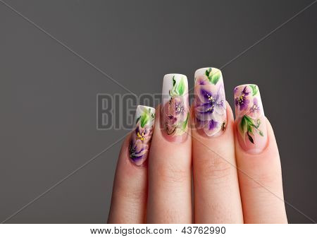 Human Fingers With Beautiful Spring Manicure