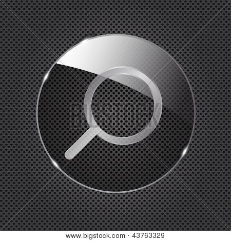 Glass Search button icon on metal background. Vector illustratio