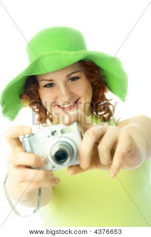 Happy Woman Taking A Picture