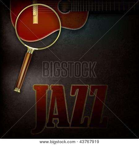 Abstract Background With Magnifying Glass And Accoustic Guitar