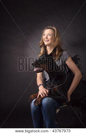 Woman With Dobermann Dog