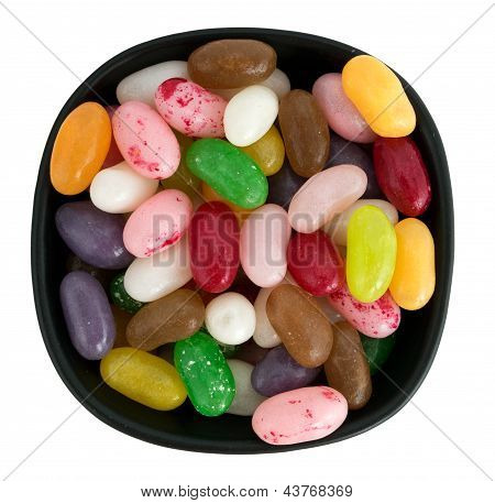 Bowl Of Bright Jellybean Sweets, Confectionary - Isolated Over White