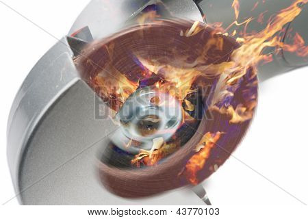 Power Circular Saw In Fire.composite Image