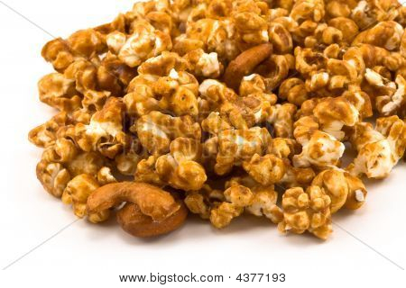 Spill Of Golden Caramel Corn On White