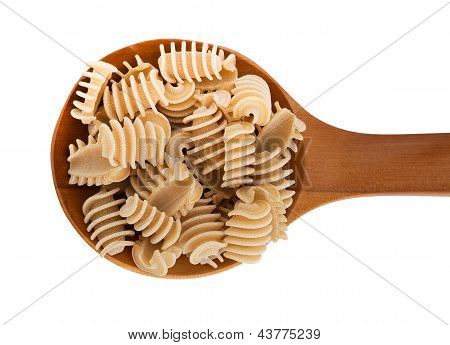 Rustic Home Made Pasta, Radiators, On Spoon Isolated Over White