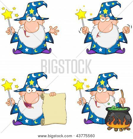 Wizard Waving With Magic Wand . Collection