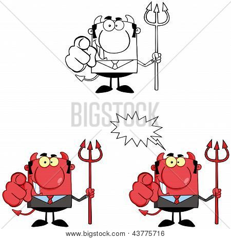 Smiling Devil Boss With A Trident And Hand Pointing Finger.Collection