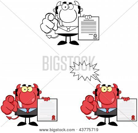 Devil Boss Holds Up A Contract And Hand Pointing Finger.Collection