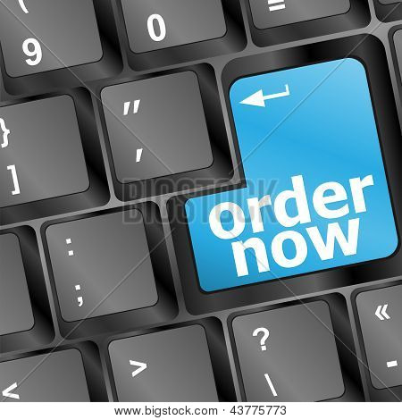 Order Now Computer Key In Blue Showing Online Purchases And Shopping, art illustration
