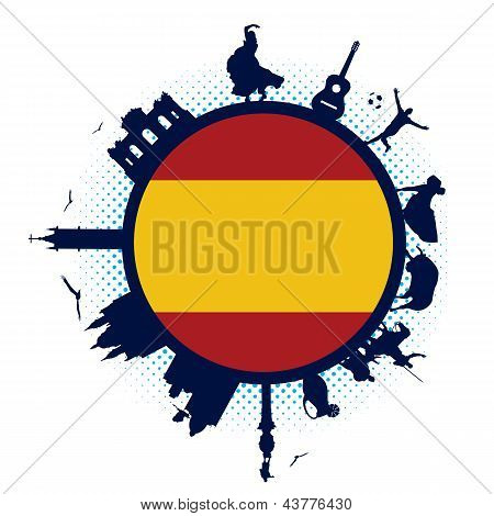 Spain flag and silhouettes