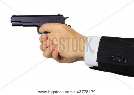 Asian Male Hands Shooting A Gun On White