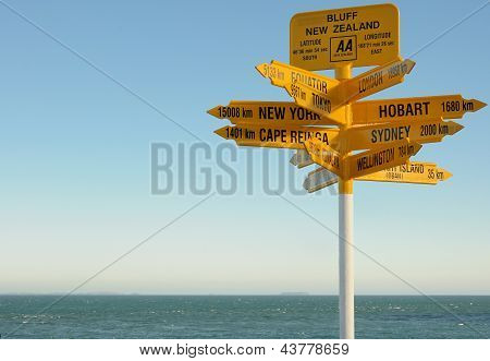 Signpost in Bluff, South Island, New Zealand. Most southern mainland point of New Zealand
