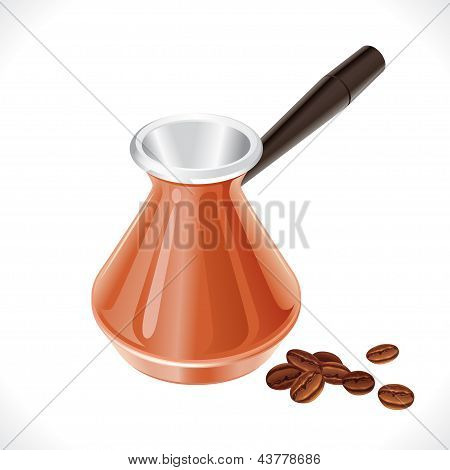 Metal turk and coffee beans isolated on white background.