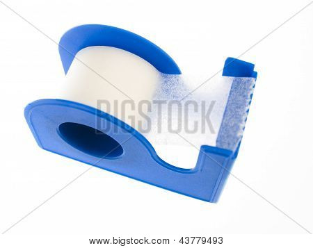 Plaster Tape In A Container On A White Background
