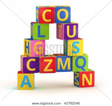 Letter A  maked from abc cubes