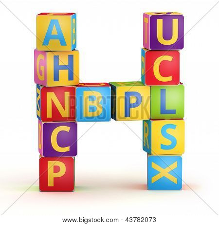 Letter H maked from abc cubes