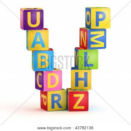 Letter V maked from abc cubes
