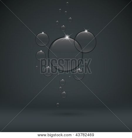 bubble on dark background black tranparent drop
