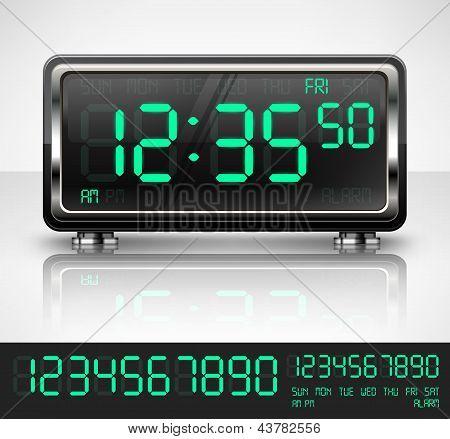 Reloj digital en blanco