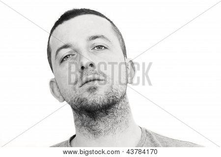 Depressed Man Looking Straight Ahead