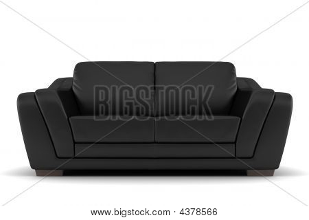 Black Leather Sofa Isolated On White Background