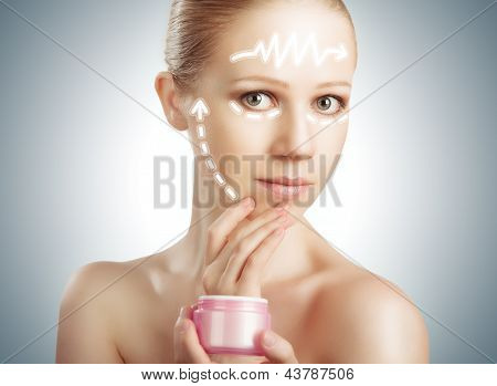 Concept Skincare. Skin Of Beauty Woman With Facelift, Plastic Surgery, Arrows With  Rejuvenation Cre