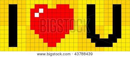 8-bit Pixel I Heart U