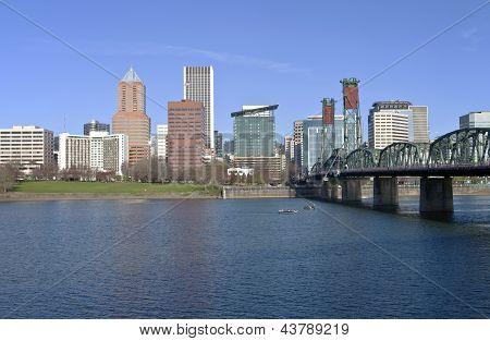 Portland Oregon Skyline And River.