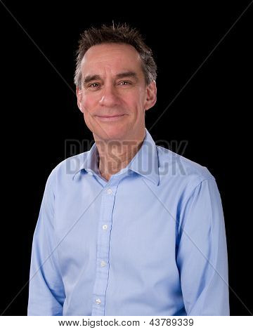Portrait Of Handsome Smiling Business Man In Blue Shirt