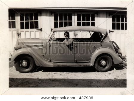 Vintage Man In Car