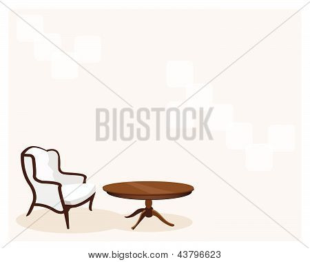 Antique Leather Armchair In Living Room Background