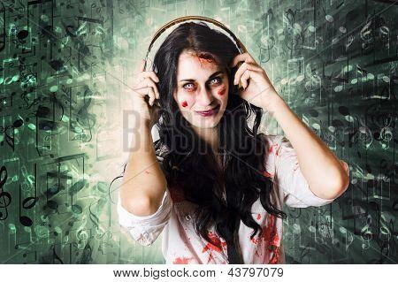 Gothic Rock Music Girl Wearing Headphones