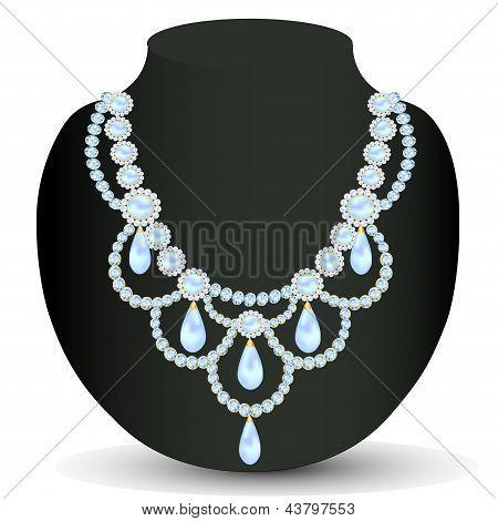 Collar mujeres para contraer matrimonio con perlas
