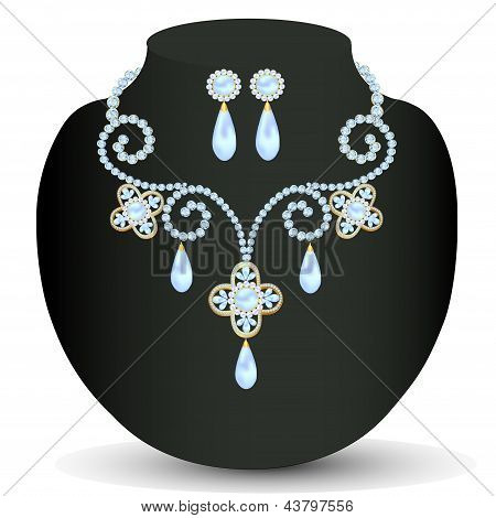 Collar mujeres para contraer matrimonio con perlas y piedras preciosas
