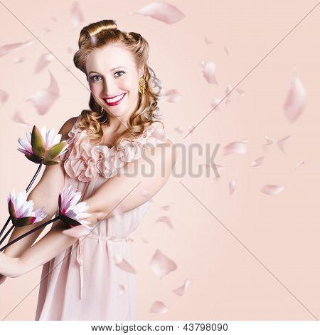 Smiling Flower Girl Dancing In Spring Petal Rain