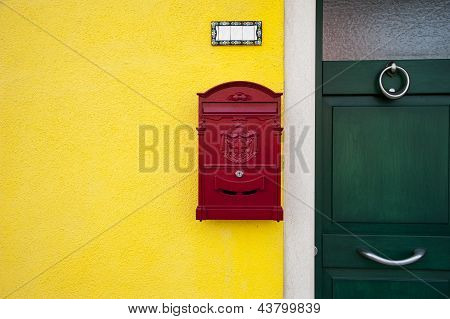 Door With Red Letterbox
