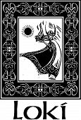 picture of loki  - Woodcut style image of the Viking God Loki in a Celtic border - JPG